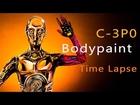 Star Wars C-3PO Body Paint Tutorial Time Lapse